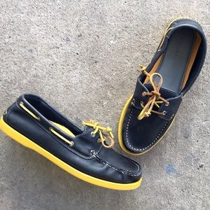 Tesori | Navy Blue Leather Boat Shoes
